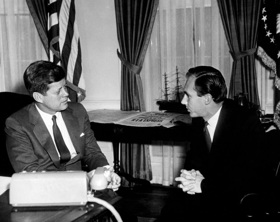 President John F. Kennedy Meets with His Highness the Aga Khan, Prince Karim al-Husseini, at the Oval Office, White House, on March 14, 1961