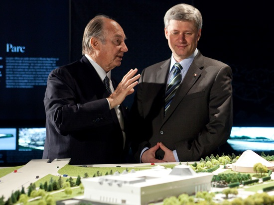His Highness the Aga Khan and Prime Minister Stephen Harper at the Foundation ceremony of the Aga Khan Museum, the Ismaili Centre and their Park which are schedued to open in 2014.