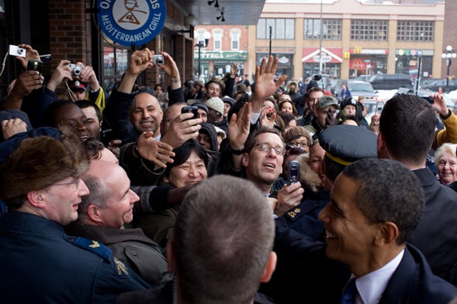 canada02--SS_size_0  President Obama is welcomed by an enthusiastic crowd upon his arrival in Ottawa, Canada.   February 19, 2009