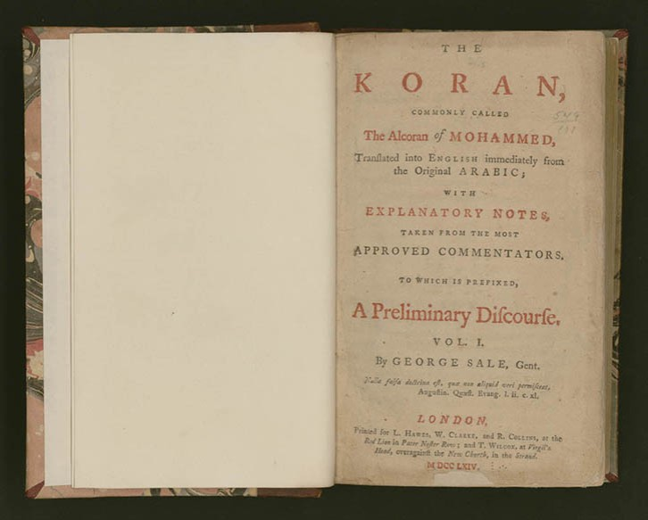 Jefferson's Koran at the Library of Congress. George Sale, trans. (1697–1736). The Koran, Commonly Called the Alcoran of Mohammed, Translated into English Immediately from the Original Arabic; . . . 2 vols. London, 1764. Rare Book and Special Collections Division, Library of Congress. (S. 1457) (27.00.00)