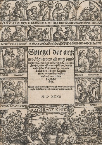 L0040792 Woodcut depicting ancient herbalists and scholars