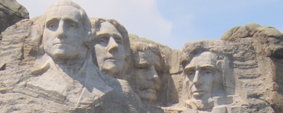 Colossal Faces of Four American Presidents including Thomas Jefferson, second from left.