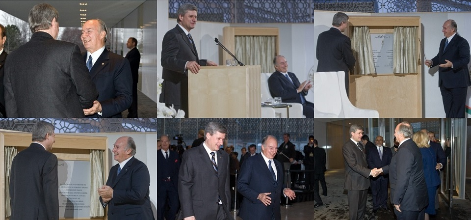 His Highness the Aga Khan and the Prime Minister of Canada, Stephen Harper, at the opening of the Delegation of the Ismaili Imamat Building