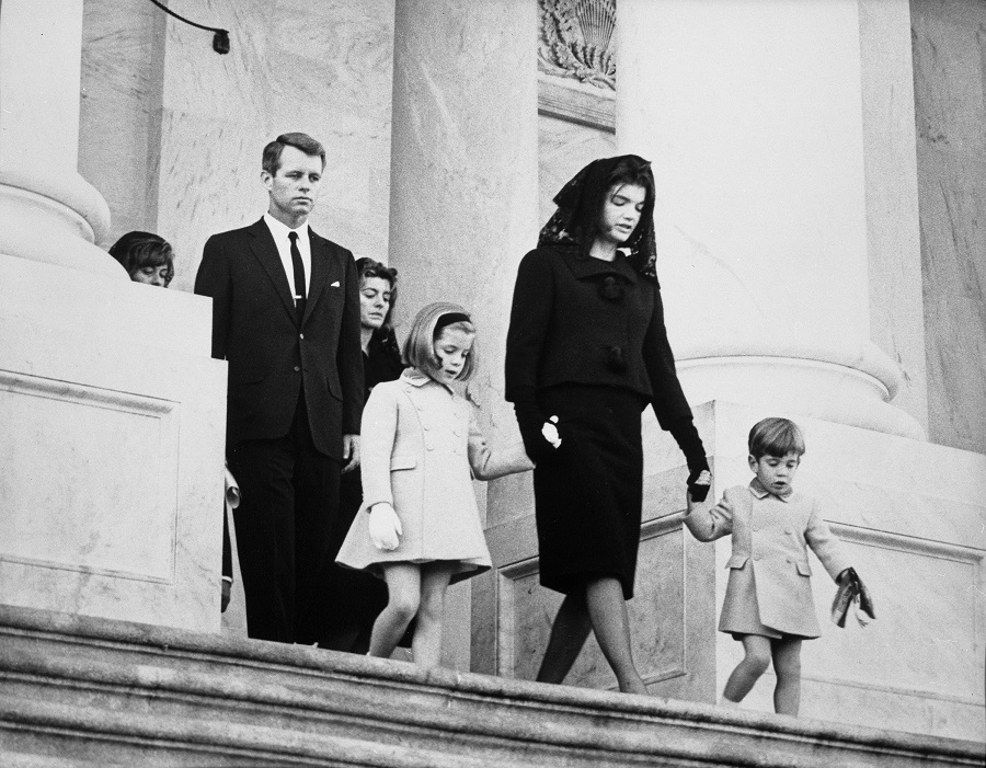 24 November 1963: Kennedy family members, including  Robert F. Kennedy, Caroline Kennedy, First Lady Jacqueline Kennedy, and John F. Kennedy, Jr. East leaving the Front Entrance of Capital Building, Washington, D.C.   for President John F. Kennedy .   Photo credit: Abbie Rowe, National Parks Service/John F. Kennedy Presidential Library and Museum, Boston.
