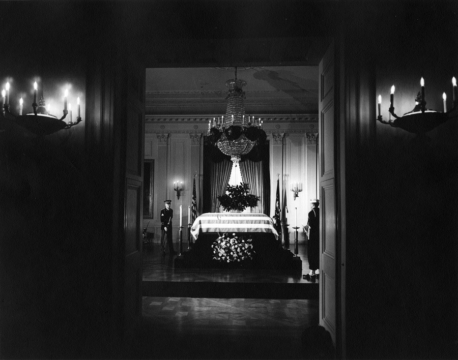 23 November, 1963: President Kennedy's casket lies in state in the East Room of the White House, attended by two members of the honor guard. Photo credit: Abbie Rowe/John F. Kennedy Presidential Library and Museum, Boston. Scanned from original file print.