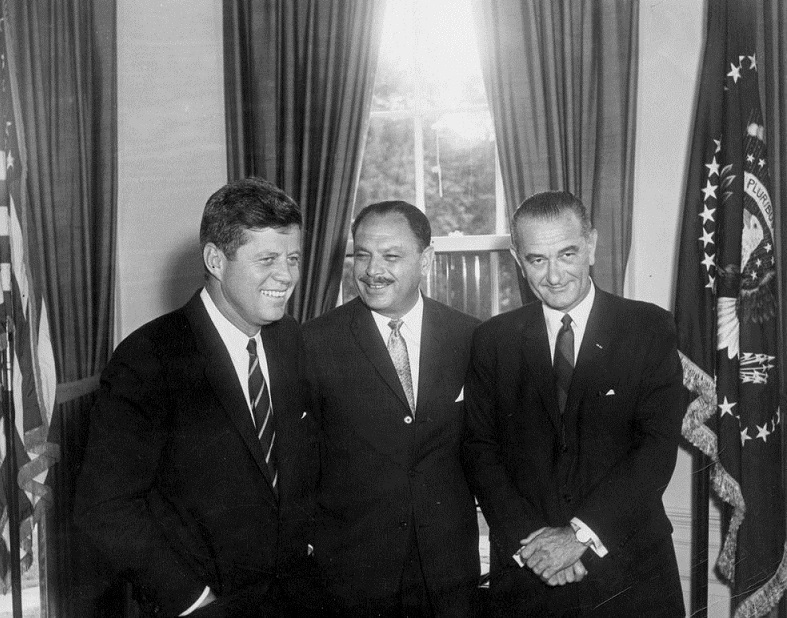 13 July, 1961:  President John F. Kennedy and Vice President Lyndon B. Johnson with Pakistan's President Mohammad Ayub Khan at the Oval Office, White House, Washington, D.C. Photo credit: Abbie Rowe. White House Photographs. John F. Kennedy Presidential Library and Museum, Boston