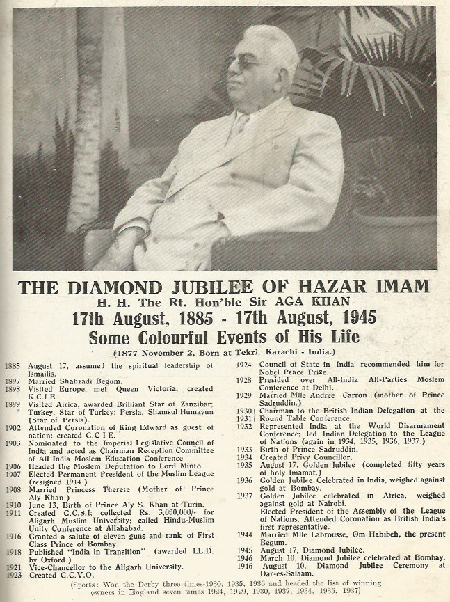 The Diamond Jubilee Souvenir issue includes this timeline of His Highness the Aga Khan's key years in his public life upto the Diamond Jubilee