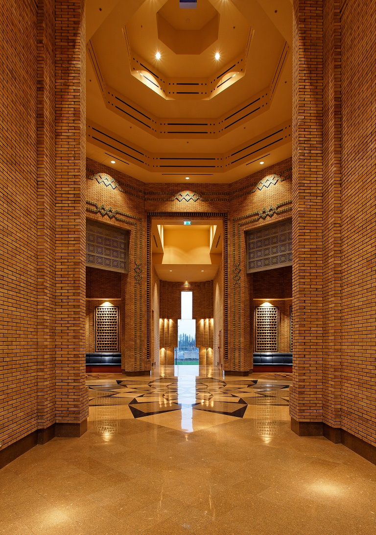 A view into entry foyer of the Ismaili Centre in Dushanbe. Photo: FNDA Architecture Inc. Copyright.