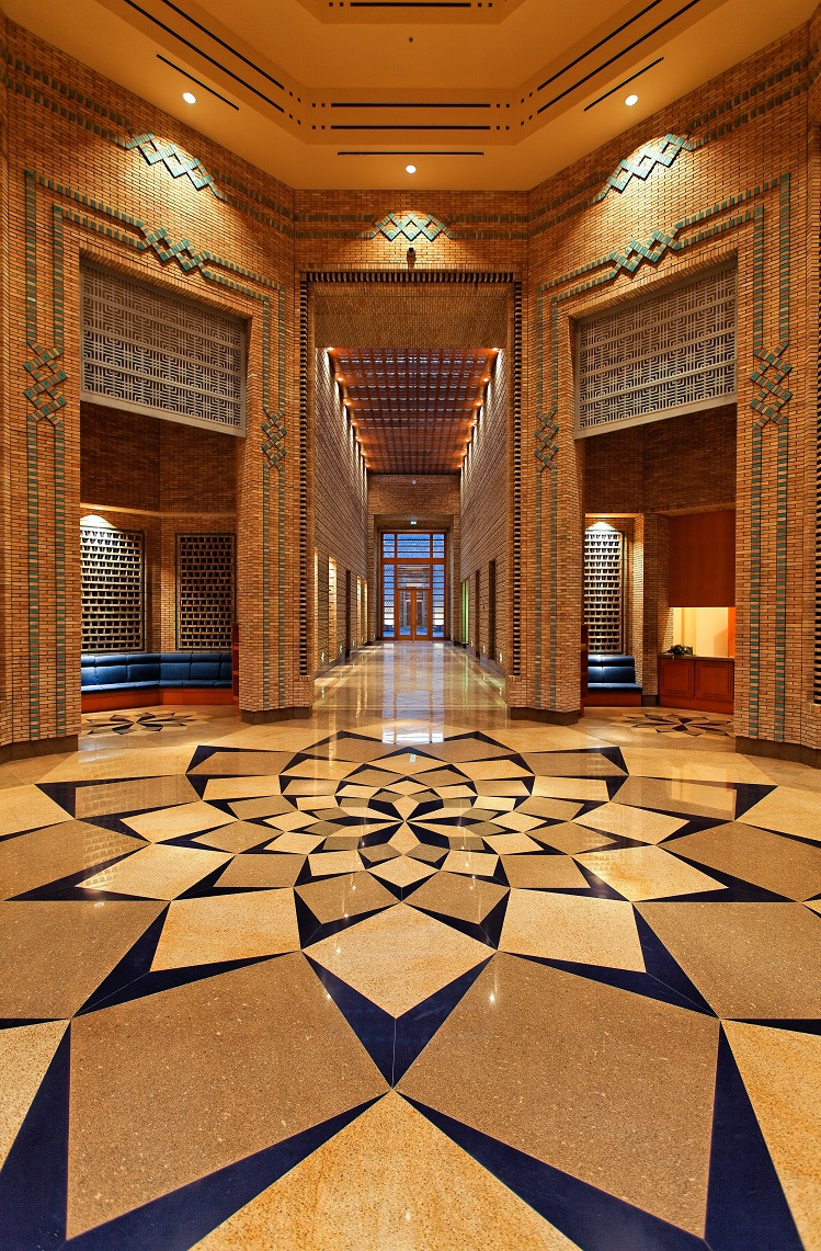 The main entrance floor pattern of the Ismaili Centre, Dushanbe. Photo: FNDA Architecture Inc. Copyright.