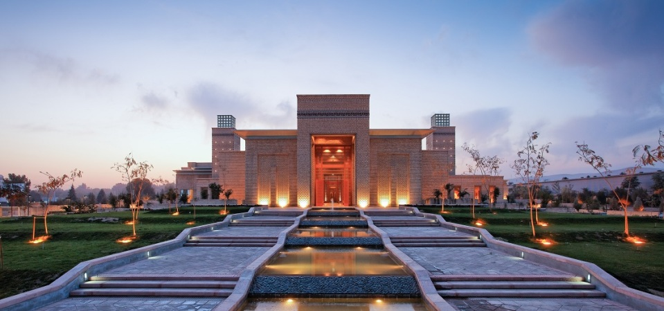 A view of landscaped gardens and cascading waterfall at the Ismaili Centre in Dushanbe. Photo: FNDA Architecture Inc. Copyright.