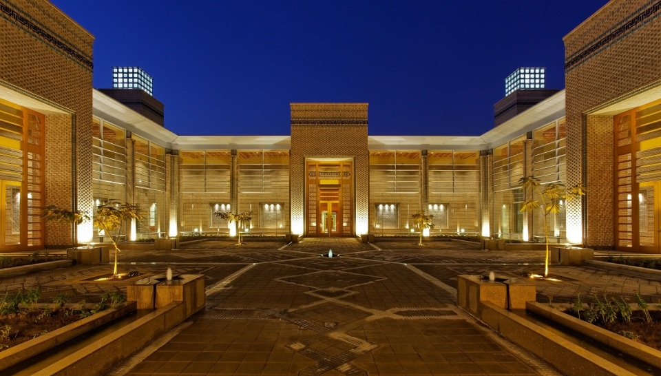 Ismaili Centre, Dushanbe - Exterior shot of the courtyard at night. Photo: FNDA Architecture Inc. Copyright.