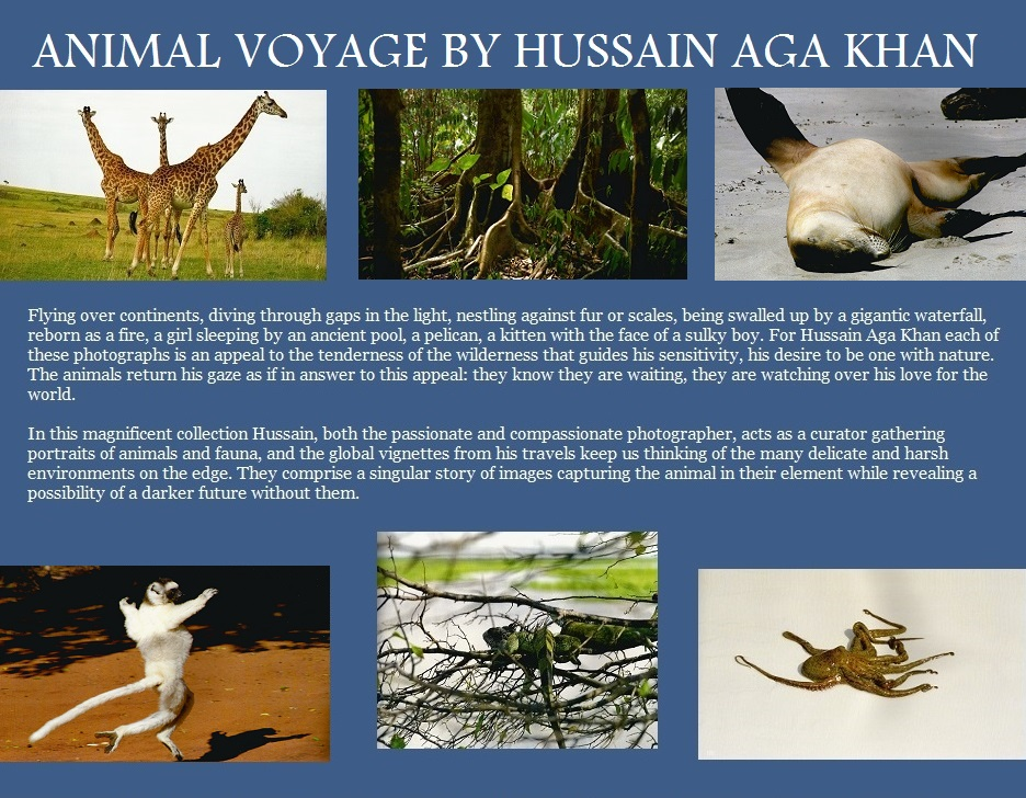 "A collage of photos from Prince Hussain Aga Khan's ""Animal Voyage"" with an excerpt from a review by John MacDonald, an Ottawa based freelance photographer. Image: Designed by Simerg."