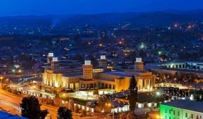 A night time shot of the Dushanbe Ismaili Centre. Photo: FNDA Architecture Inc. Copyright.