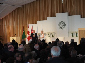 Mawlana Hazar Imam graciously accepts the standing ovation he receives after completing his speech at the opening of the Aga Khan Park on May 25, 2015. Photo: Simerg/Malik Merchant. Copyright.