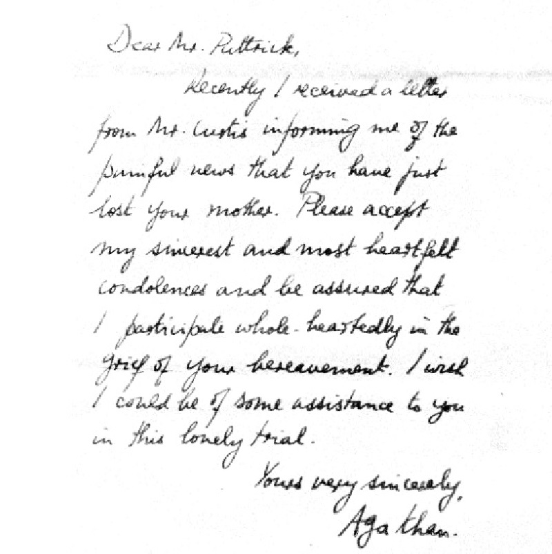 Condolence Letter of His Highness the Aga Khan to Frank Pattrick on the death of his mother