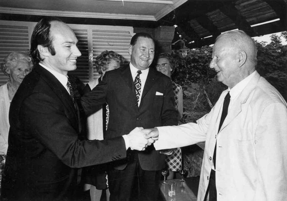 His Highness the Aga Khan, Mawlana Hazar Imam being greeeted by Mr Frank Pattrick