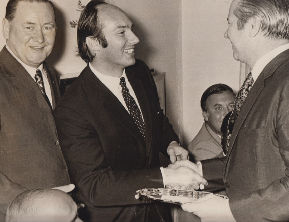 His Highness the Aga Khan with Frank Pattrick and Michael Curtis