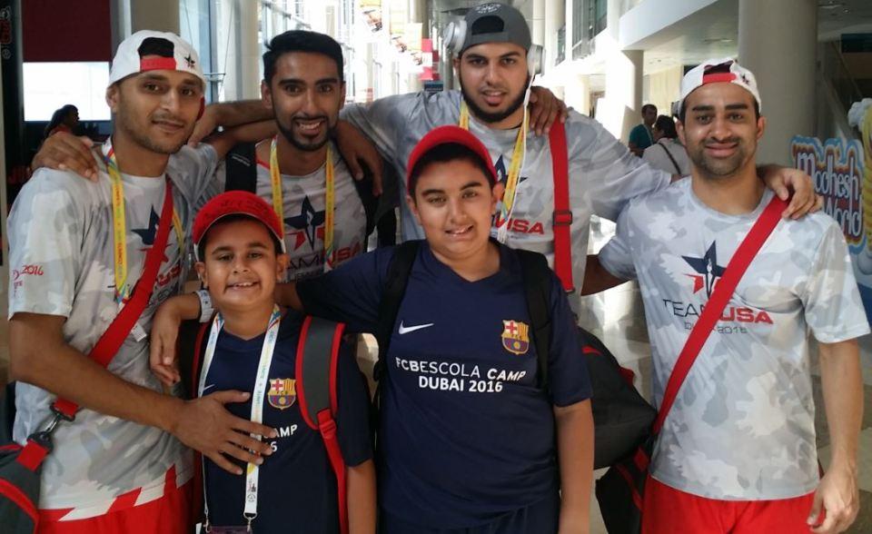 Riyaan after BATS autograph his hat - Riyaan and Qayl in front- L 2 R back - Adnan Dahlvani, Zoheb Hadi, Naushad Lalani, Irfan Charania.