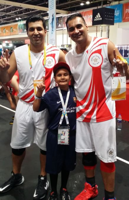 Riyaan - celebrating proudly with Team USA Blue after the semifinal win against Team USA White. L 2 R - Azeem Maredia, Riyaan Maherali and Rahim Hussain