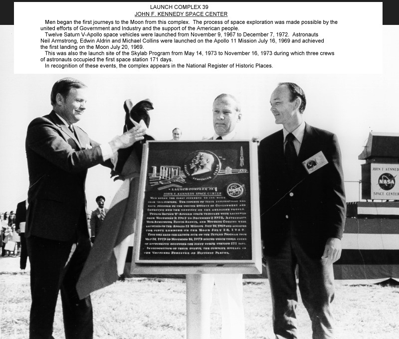 ap11-74-H-551_Apollo 11 astronauts at Launch Complex 39 for unveiling of National Landmark plaque