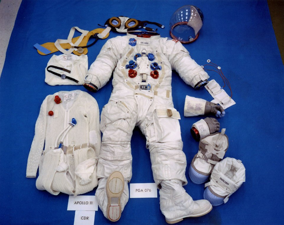 ap11-S69-38889_table-top view of Neil Armstrong's lunar EVA suit