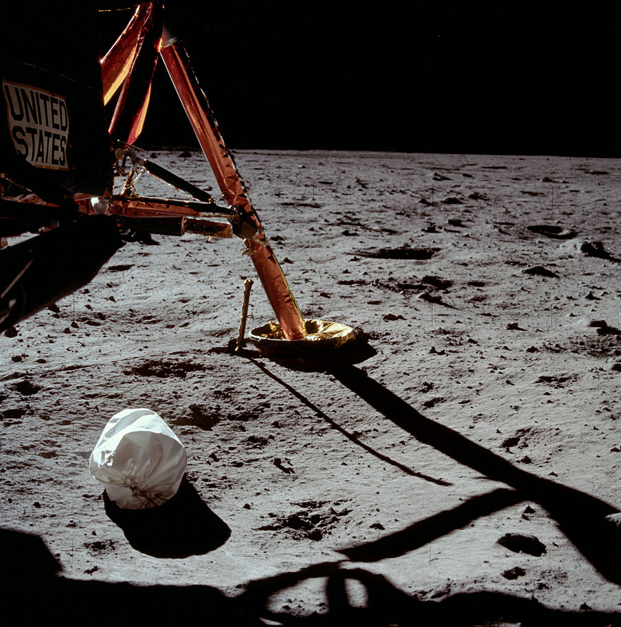 AS11-40-5850_Armstrong's first photo after setting foot on the Moon