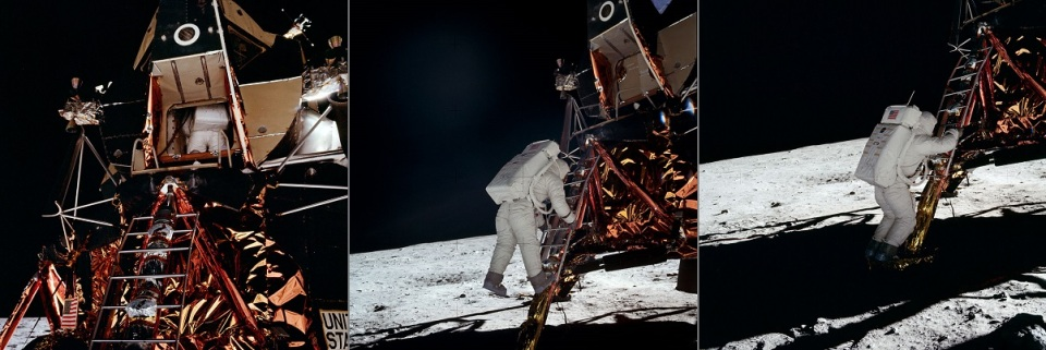 AS11-40-5862_Apollo 11 astronaut Aldrin backing out of LM, stepping down and on footpad