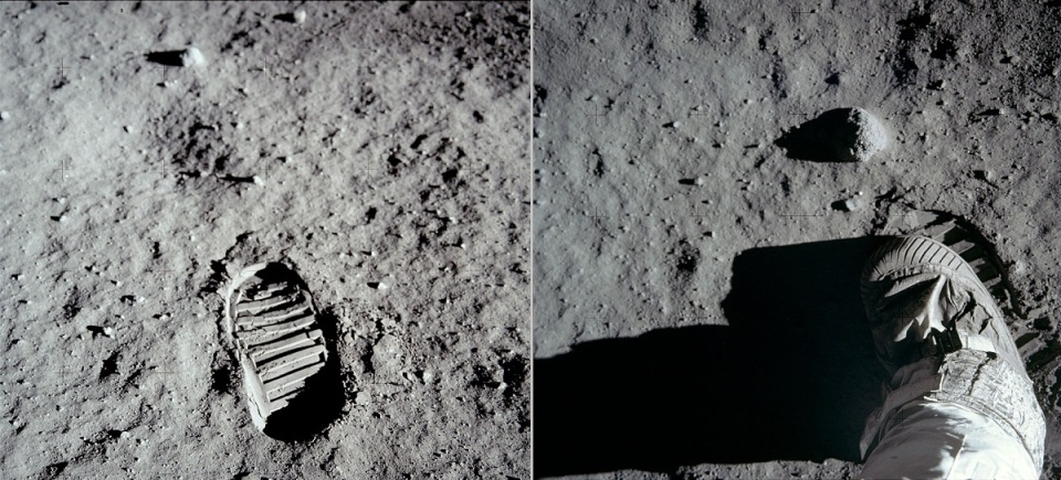 AS11-40-5877_Aldrin's bootprint and footprint in the lunar soil