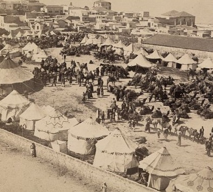 10635v_Caravan of Persian pilgrims to Mecca at Jaffa, Palestine