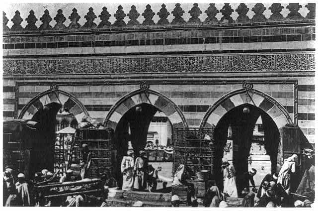 3b32497r_Bab Ali, gate of the al-Masjid al-Ḥarām, Mecca, Saudi Arabia, from the east; through the middle portal the Zamzam is visible