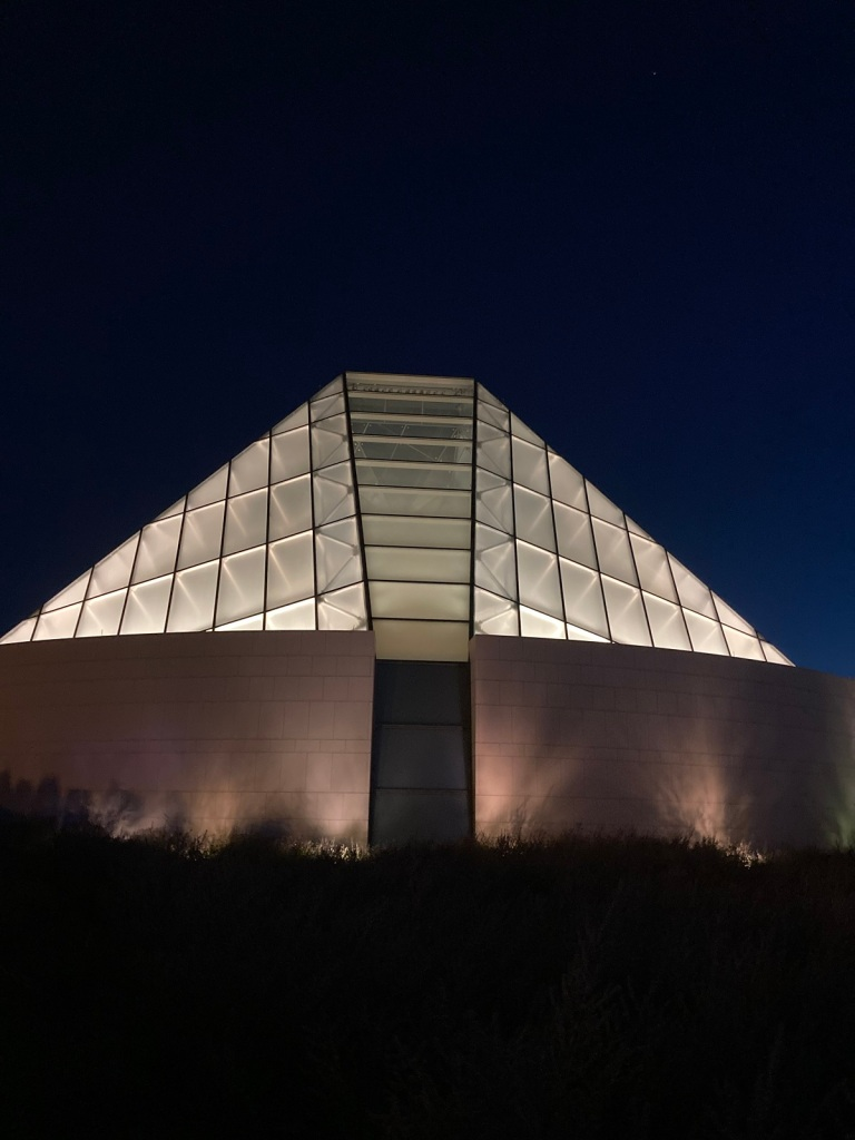 Ismaili Jamatkhana Mihrab Lit Up dome Simerg photo Malik Merchant