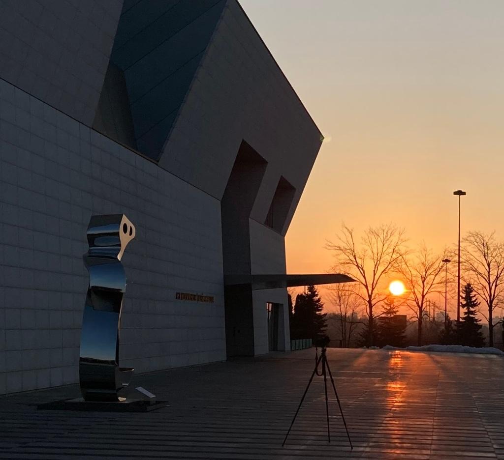 Sun Rise Aga Khan Museum Big Heech Sculpture Simerg photos