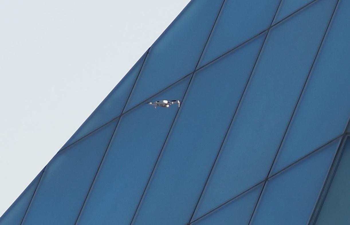 Drone passes the Ismaili Jamatkhana dome. Simergphotos Malik Merchant