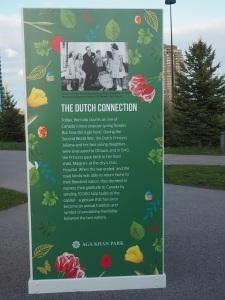 Aga Khan Park panel display on the tulip's Dutch connection. Simergphotos.