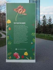 Aga Khan Park panel display on the tulip in Europe. Simergphotos