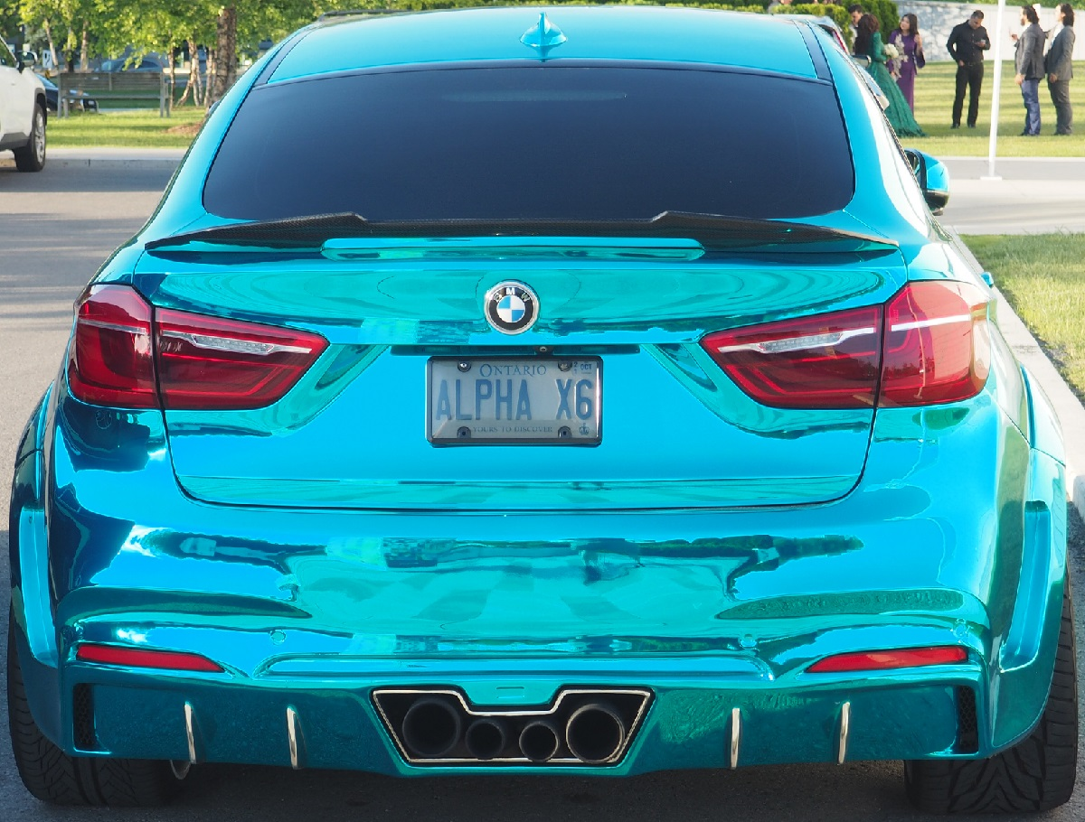 A new visitor to Aga Khan Museum - a custom built BMW with 850 HP finished in mirror like chrome teal. Simergphotos Malik Merchant Photo of the Day