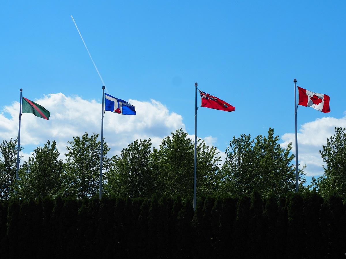 Red and green Ismaili flag Aga Khan Park